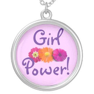 女の子力! ピンク、紫色、オレンジ花 シルバープレートネックレス