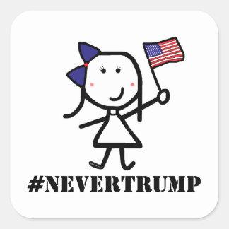 女の子及び旗- #NeverTrump スクエアシール