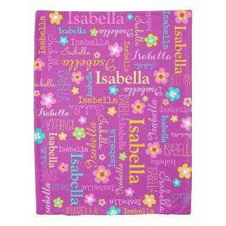 女の子名前および花の羽毛布団カバー 掛け布団カバー