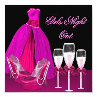 女の子夜は靴のハイヒールシャンペンを飾ります カード