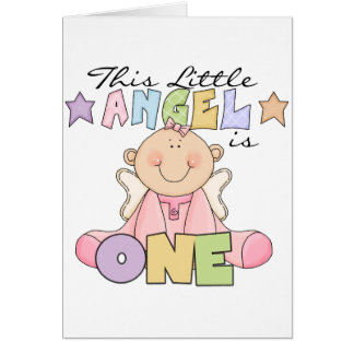 女の子少し天使の第1誕生日のTシャツおよびギフト カード