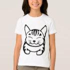 女の子幸せな猫のTシャツ(黒い虎猫) Tシャツ