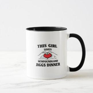 女の子愛ニューファウンドランドこのJiggsの夕食 マグカップ
