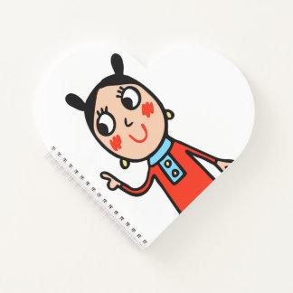 女の子愛日記のかわいらしいハートのノート ノートブック