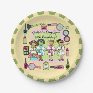 女の子日のスパの誕生日の紙皿 ペーパープレート