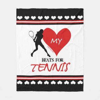 女の子-テニスのための私の心拍 フリースブランケット