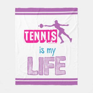 女の子-テニスは私の生命です フリースブランケット