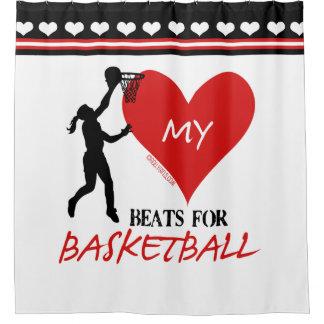女の子-バスケットボールのための私の心拍 シャワーカーテン