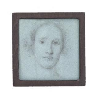 女の子(置かれるの頭部青の白黒チョーク ギフトボックス