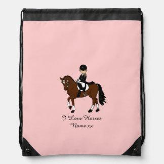 女の子- I愛馬-のためのギフト馬場馬術のライダー ナップサック