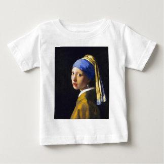 女の子wの真珠のイヤリングの~ Vermeer ベビーTシャツ
