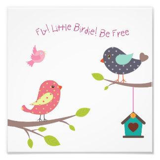 女の赤ちゃんおよび女の子のための小さい鳥ポスター フォトプリント