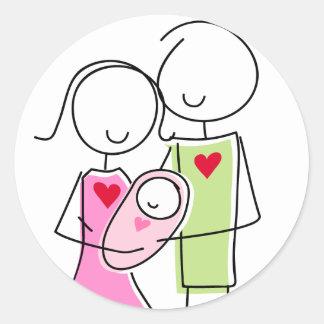 女の赤ちゃんが付いている新しい親-円形のステッカー ラウンドシール