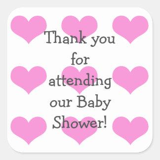 女の赤ちゃんのシャワーのステッカー スクエアシール