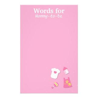 女の赤ちゃんのピンクがあるお母さんのための単語 便箋