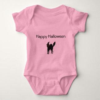 女の赤ちゃんのボディスーツのハロウィンピンクの猫 ベビーボディスーツ
