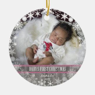 女の赤ちゃんの初めてのクリスマス セラミックオーナメント
