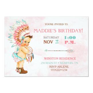 女の赤ちゃんの天然種族の頭飾りの赤面のピンクの水 カード