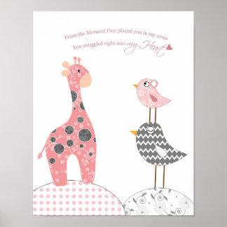 女の赤ちゃんの子供部屋の芸術(私のハートに寄添われる) ポスター