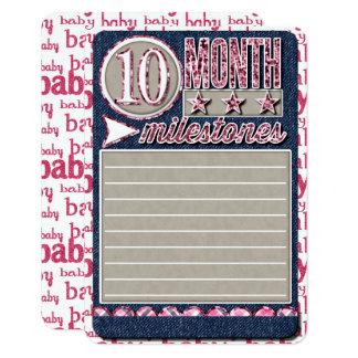女の赤ちゃんの月例マイル標石ジャーナルカード カード