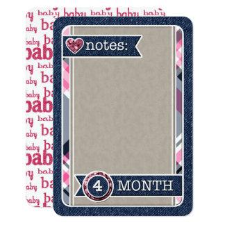 女の赤ちゃんの月例手形仕訳帳カード カード
