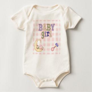 女の赤ちゃんの月、ラッセル音、ピンクはオーガニック点検します ベビーボディスーツ