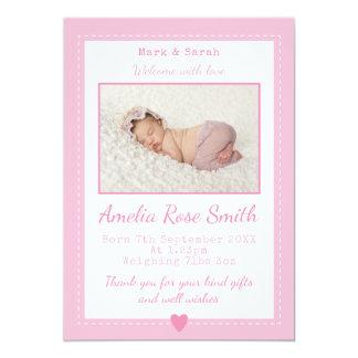 女の赤ちゃんの発表かサンキューカード カード