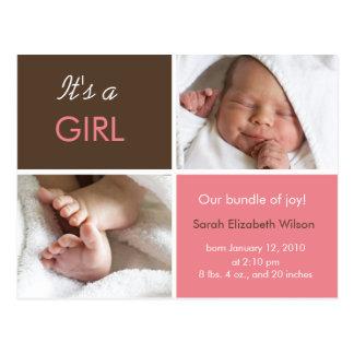 女の赤ちゃんの発表の郵便はがき ポストカード