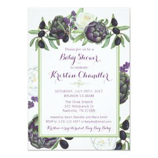 女の赤ちゃんの花の庭のベビーシャワーの招待状 カード