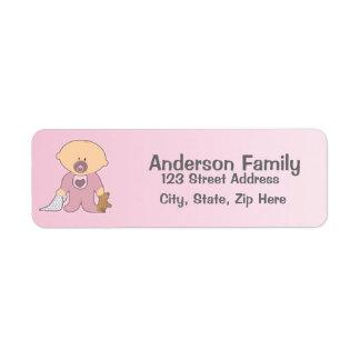 女の赤ちゃんのBlankieのピンクの宛名ラベル 返信用宛名ラベル
