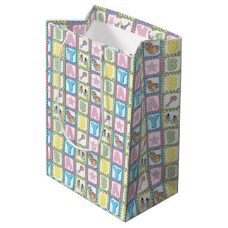 女の赤ちゃんパターンデザイン ミディアムペーパーバッグ