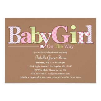 女の赤ちゃん|のベビーシャワーの招待 カード