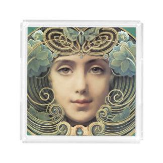 女らしい新しいのヴィンテージの美しい アクリルトレー