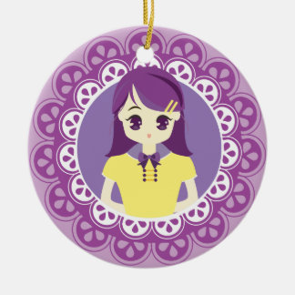 [女中のCaféシリーズ]パステル調の紫色の女中#04 セラミックオーナメント