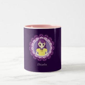 [女中のCaféシリーズ]パステル調の紫色の女中#04 ツートーンマグカップ