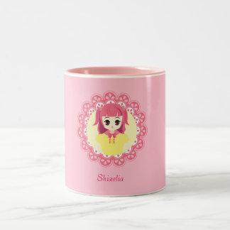 [女中のCaféシリーズ]ピンクの女中#03 ツートーンマグカップ