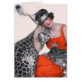 女性およびヒョウ カード