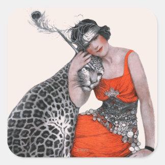 女性およびヒョウ スクエアシール