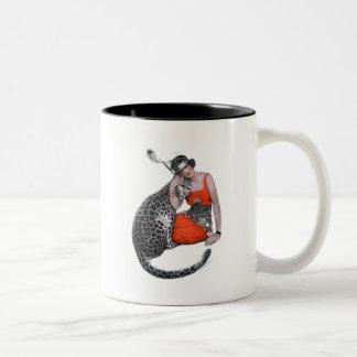 女性およびヒョウ ツートーンマグカップ