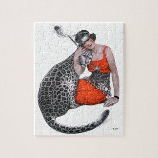 女性およびヒョウ パズル