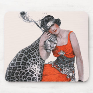 女性およびヒョウ マウスパッド