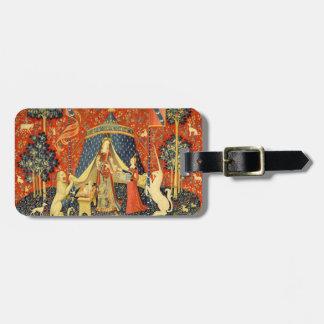 女性およびユニコーンの中世タペストリーの芸術 ラゲッジタグ