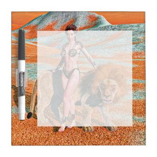 女性およびライオン ホワイトボード