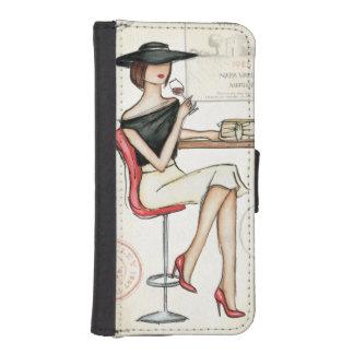 女性およびワイングラス iPhoneSE/5/5sウォレットケース