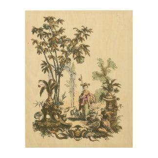 女性および動物が付いているアジア庭 ウッドウォールアート