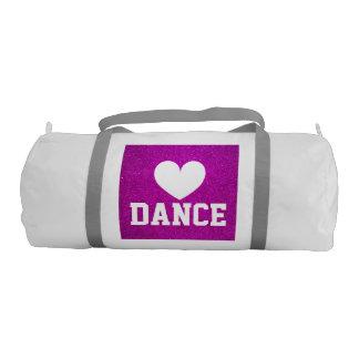 女性および女の子のためのピンクのグリッターのダンスのduffleバッグ ジムバッグ