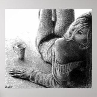 女性および朝のコーヒーグラファイトポスタープリント ポスター