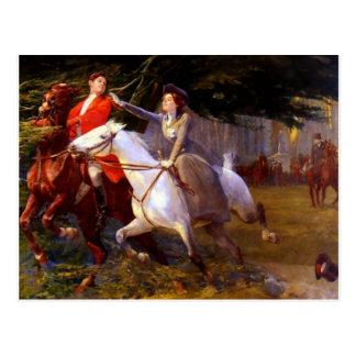 女性および紳士の乗馬馬のロマンチックな愛 ポストカード