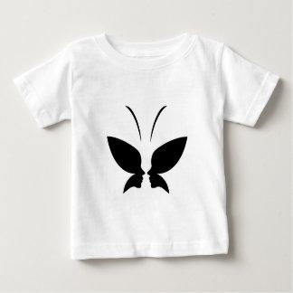 女性および蝶の顔 ベビーTシャツ