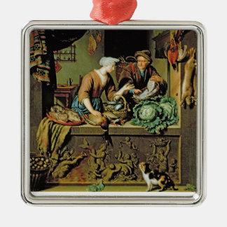 女性および魚の行商人1713年(パネルの油) メタルオーナメント